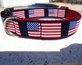 """USA Flag Dog Collar, 3/4"""" or 1"""" wide Quick Release buckle American Flag - No martingale collars, limited ribbon"""