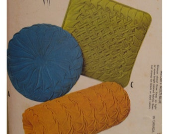 Smocked Cushion Covers Pattern, Vintage 1960s, Round, Square, Bolster, McCalls No. 2467