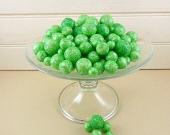 Glitter Balls Pastel Green Styrofoam Beads