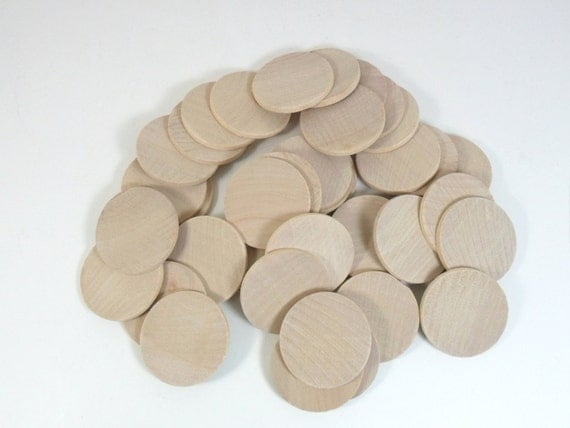 "50 Wood Circle Disc 1 1/2"" FLAT Edge x 1/8"" Wood Coin Circle Pendant Unfinished Wood Disk"