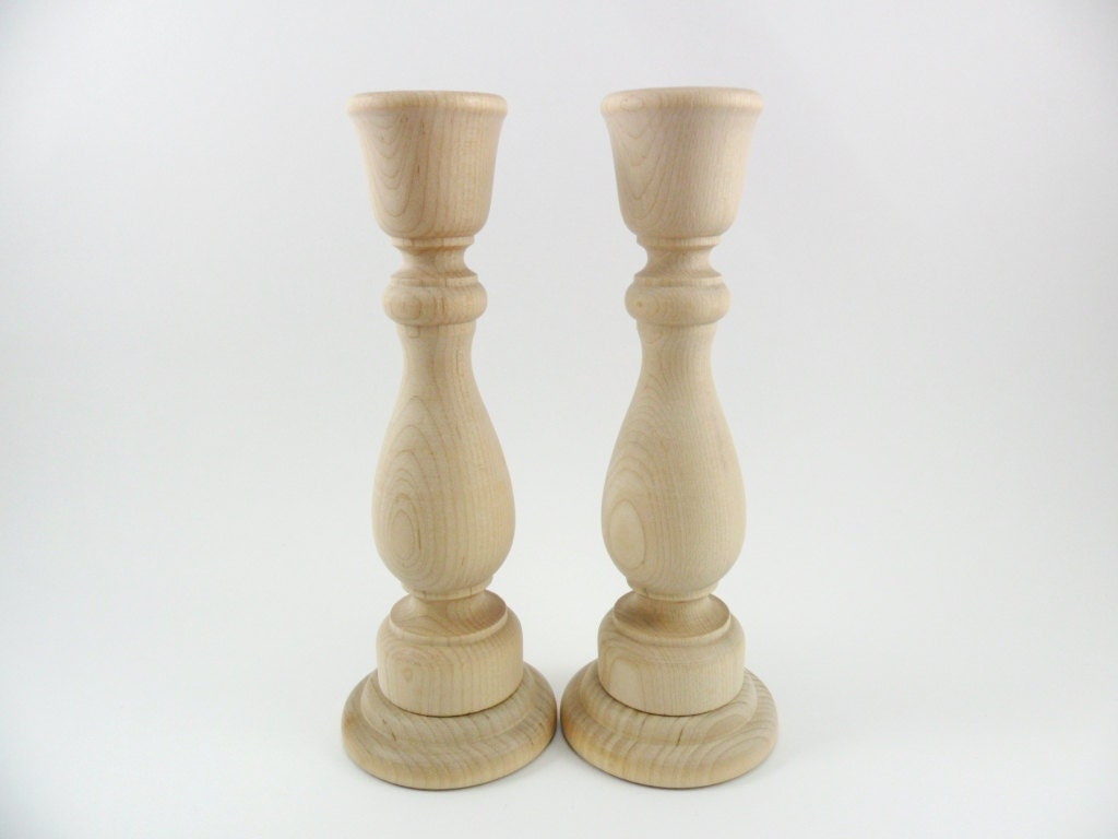Candlesticks 6 3 4 wood candle holders unfinished set of - Unfinished wood candlestick holders ...