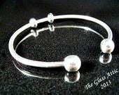 Solid Sterling Silver European Charm Cuff Bangle fits Trollbeads 7 inch