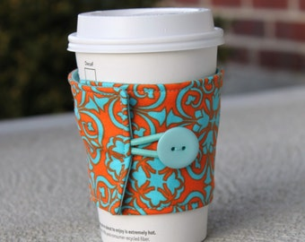 Coffee Cup Sleeve / Beverage Cozy - Reusable Cup / Mug Wrap - Bright Teal and Orange Tulip Damask