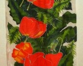"Silk Wall Hanging ""Crimson Abounds"""