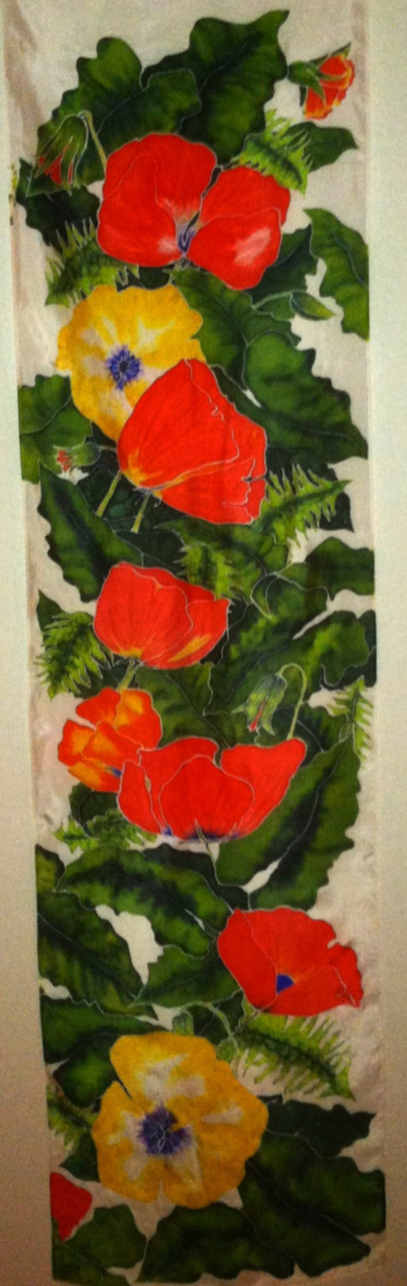 CRIMSON ABOUNDS - Hand Painted Silk Wall Hanging