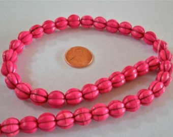 Pretty Pink Melon Shaped Bead Strand