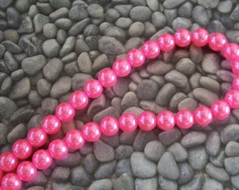 Hot Pink Glass 12mm Pearl Strand