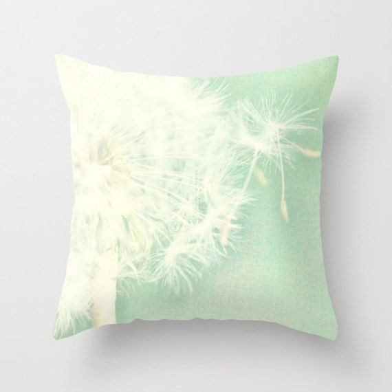 Throw Pillow Cover Mint Green Dandelion by SylviaCPhotography