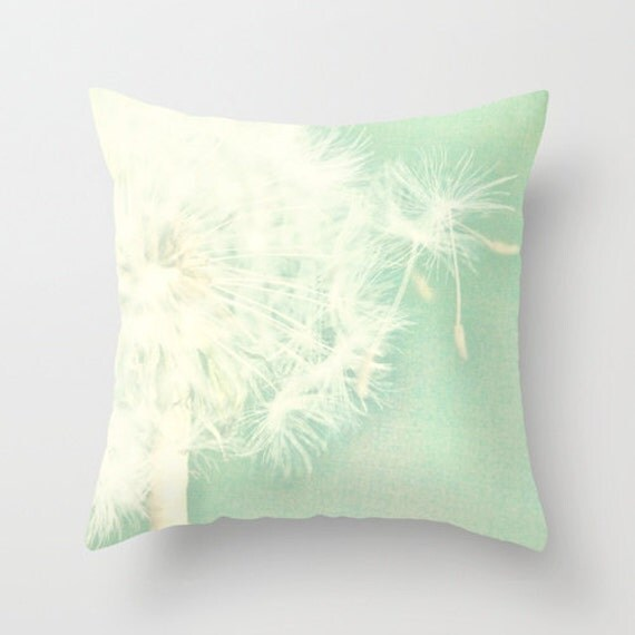 Items similar to Throw Pillow Cover Mint Green Dandelion photo on Etsy