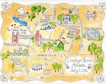Custom Wedding Map - Hand Drawn Wedding Map-Watercolor Map of your city