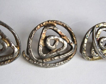 3 hand forged metal buttons abstract design 1950s