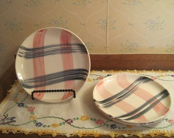 Three Small Pink and Charcoal Plates and Saucer by Stetson China