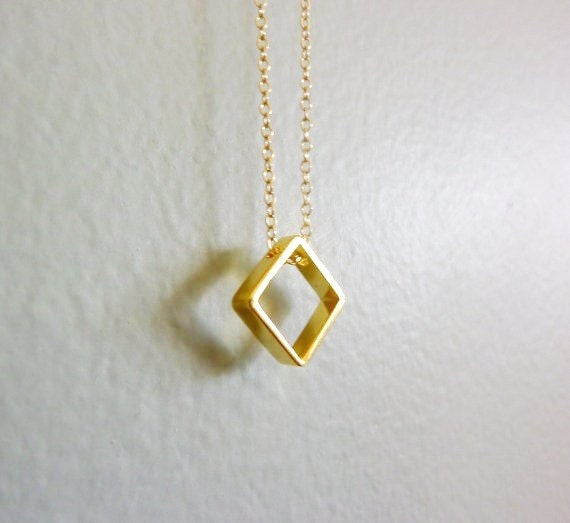 gold square charm necklace gold square necklace simple gold