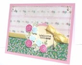 New Baby Girl Greeting Card with Coordinating Embellished Envelope - Welcome Little One Floral Handmade Paper Card