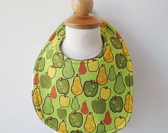 Terrycloth Bib - Pears and Apples Print
