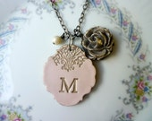Principessa Big Letter Medallion - Romantic Vintage Medallion - Custom Letter Necklace