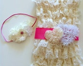 Ivory Lace Petti Romper with sash and matching headband- Ready to SHIP