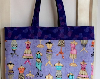 Large Tote Bag Dress Form Fashions in Purples