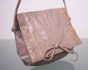 80s Jeny Purse with Strap - Faux Snakeskin Taupe Handbag - Dual Pockets - Long Shoulder Strap