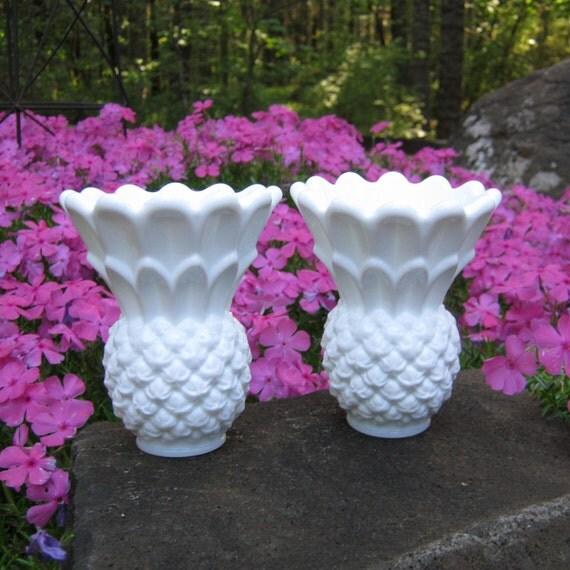 Tiara Milk Glass Pineapple Candle Holders - Mini Vases