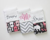 CHOOSE YOUR FABRICS - Personalized Burp Cloths