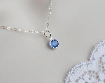 Birthstone Necklace - Swarovski Birthstone, Sterling Silver Swarovski Birthstone Charm