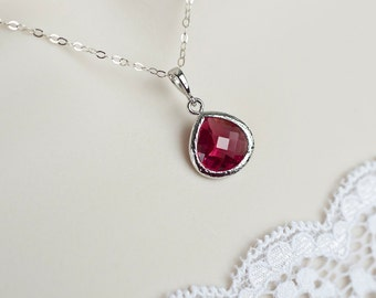 Ruby Necklace, Bridesmaids Necklace, Ruby Glass Necklace, Sterling Silver Chain with Ruby Glass Drop