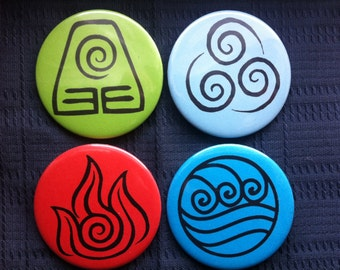 Avatar Button Badge, Fire Water Earth Air, Avatar the Last Airbender Inspired