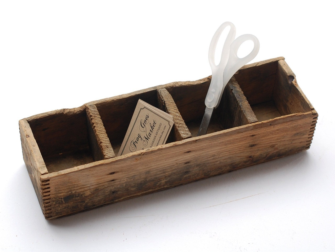 Small vintage divided rustic wood box - Small rustic wooden boxes ...