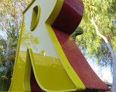 Vintage Marquee Sign Letter Capital 'R': Large Two-Tone Red & Yellow Neon Channel Industrial Advertising Salvage Wall Hanging Initial