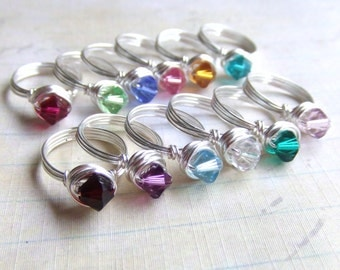 Girl's Birthstone Ring Swarovski Crystal Kids Rings Girls Rings Children's Jewelry Girl's Jewelry Crystal Rings Party Favors