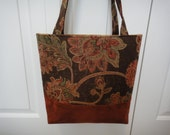 Floral Tapestry Bag in Earthtones with Ultra Suede Bottom
