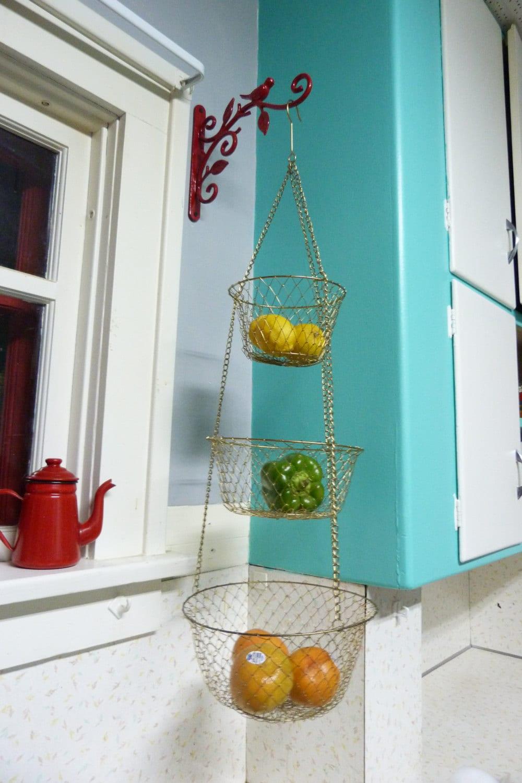 Vintage 3 Tier Wire Hanging Kitchen Basket Brass Color