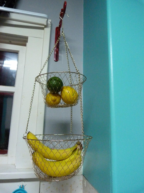 Vintage 2 Tier Wire Hanging Kitchen Basket Brass By Ravishingretro