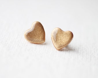 Pale Gold Shimmer Heart Stud Earrings, post earrings