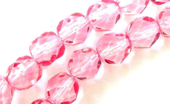Pale pink Czech fire polished 6mm glass beads, qty 29