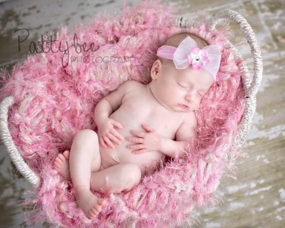 Light Pink Baby Blanket Photography Prop Furry Rug Newborn