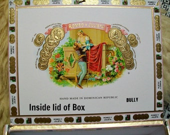 Cigar Box for crafting, purses, supplies  - ROMEO Y JULIETA - Medium size box - Bully