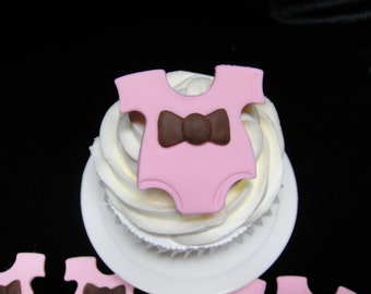 Cute Little Pink  and Brown Onsie Fondant Cupcake Toppers