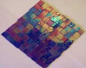 100 Electric Blue Iridized  Mosaic tile  Stained Glass Tiles Handcut art craft hobby supplies made in USA