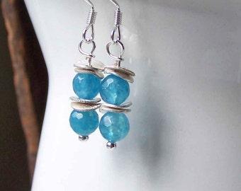 Dangle Earrings, Silver Plated Earrings, Angelite Beaded Earrings, Blue Beaded Earrings, Etsy, Etsy Jewelry, Beaded Earrings,