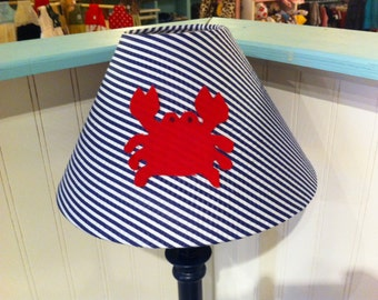 Crab lampshade, crab nursery, red crab, nautical decor, nautical nursery, navy and white, nursery lighting, cottage lampshade, cottage decor