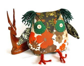 A cute Owl? a Retro Owl ? SALE Owl in 70s 80s Floral Brown and Orange Vintage Fabric