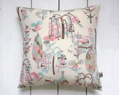 Vintage Japanese Silk Kimono Pillow Cushion 'Retro Cherry'