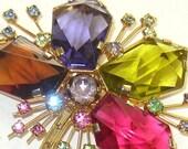 Vintage Signed Austria Gammatic Rhinestone Flower Brooch & Earrings