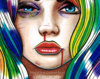 10 PERCENT OFF Limited Edition 6 out of 25 Apprx 11x14 in Art Print - Hard Candy 3 - Pin Up Girl With Rainbow Hair
