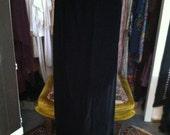 SALE High Waisted 60s Tulip Hem Black Velvet Maxi Skirt XS-M