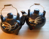 Rooster Teapots Salt and Pepper Shakers - Vintage, Collectible