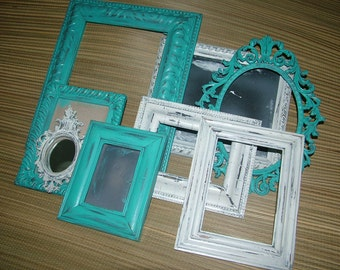 Shabby Chic ,Frame Collection ,Beach Shabby Cottage, Deep Aqua Set of  7, Gorgeous Italy 13 x 10 and 1 Ornate Mini  Frame