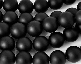 Gemstone-8mm Matte Round Onyx Beads-Lot 1-Black-15.5 Inch Strand